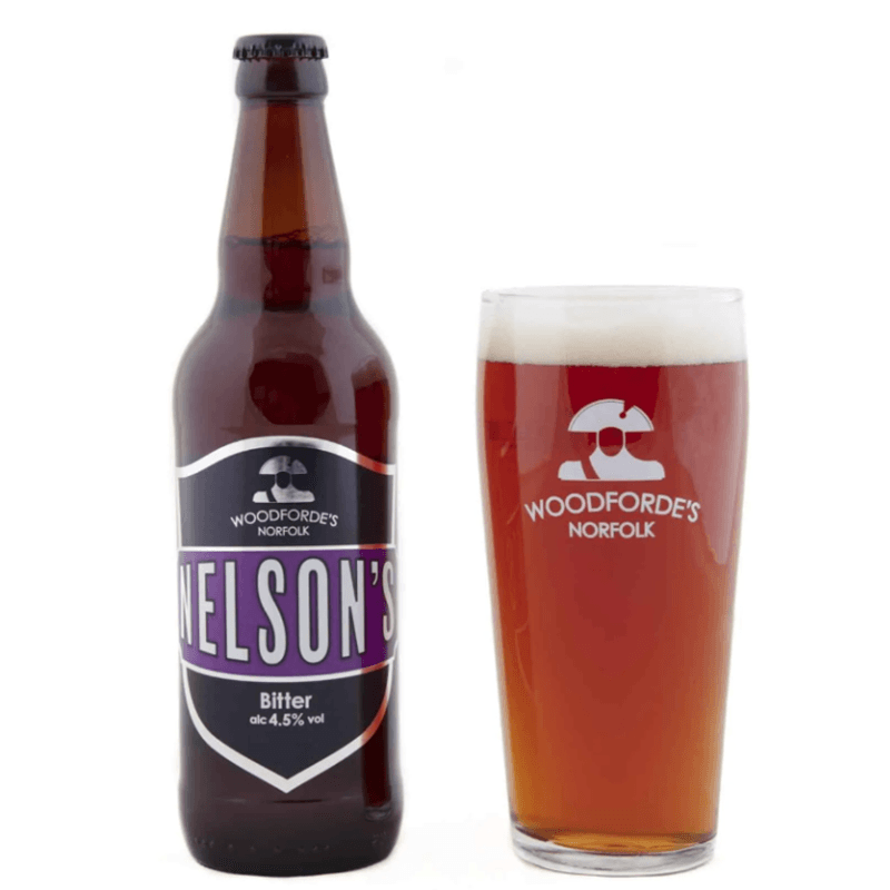 Nelson's bottle + Glass | Woodforde's Brewery