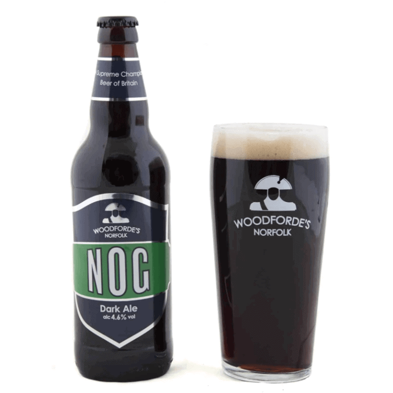 Nog bottle + Glass | Woodforde's Brewery