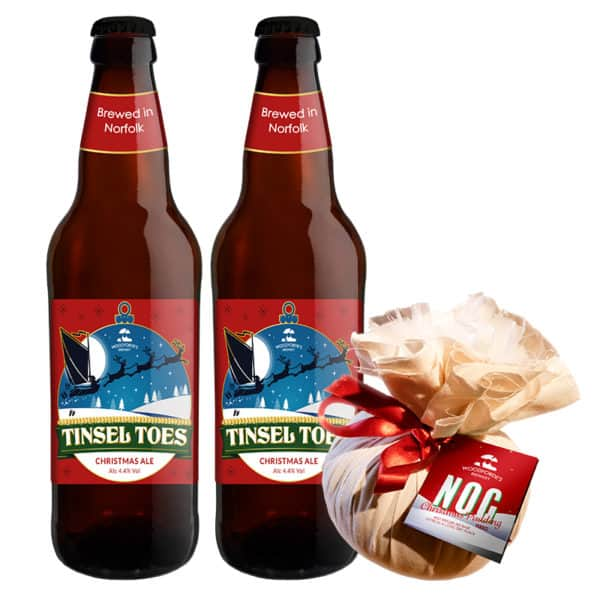 Nog Xmas Pudding with 2 Tinsel Toes bottles on woodfordes.com