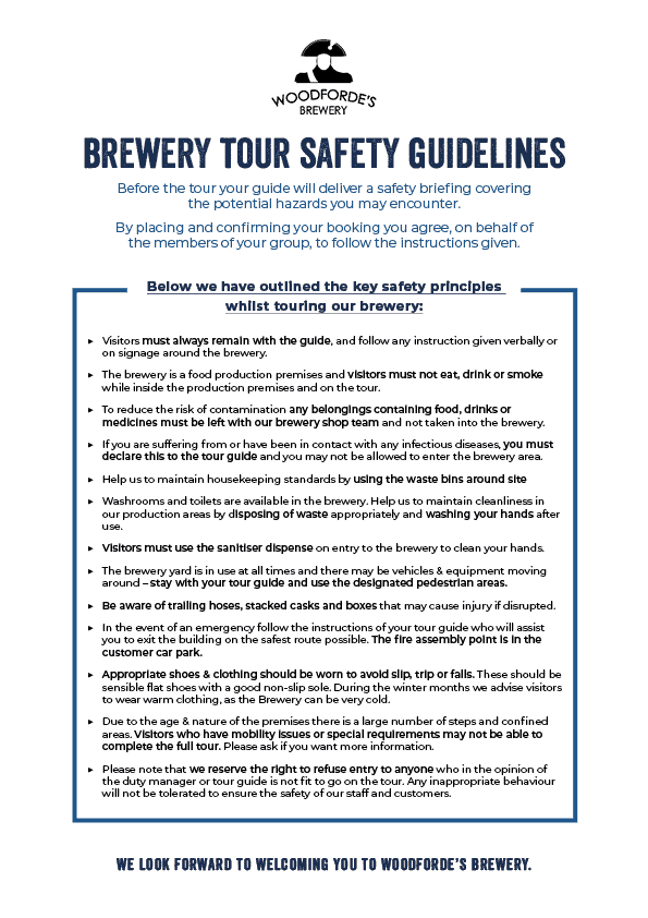 Brewery Tours Guidelines   Woodforde's Brewery