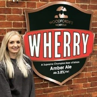 Rebecca at Woodforde's Brewery